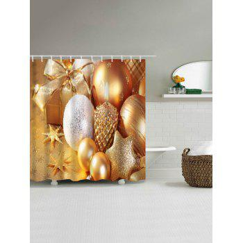 Christmas Candle Ornaments Waterproof Bath Curtain - GOLDEN GOLDEN