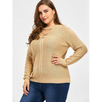 Plus Size Criss Cross Cable Knit Sweater - LIGHT CAMEL 3XL