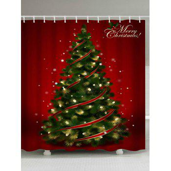 Polyester Waterproof Christmas Tree Shower Curtain - RED RED