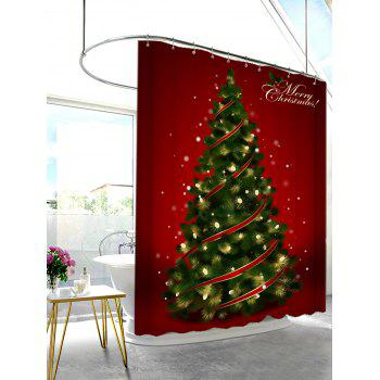 Polyester Waterproof Christmas Tree Shower Curtain - RED W71 INCH * L79 INCH