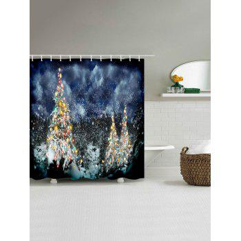 Snow Night Christmas Tree Waterproof Shower Curtain - COLORMIX COLORMIX