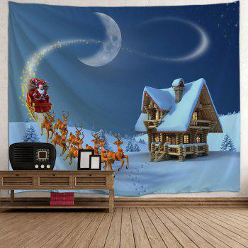 Christmas Sled Cottage Printed Wall Tapestry - BLUE W91 INCH * L71 INCH