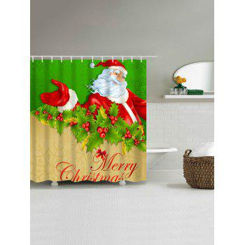 Polyester Christmas Santa Claus Waterproof Shower Curtain - GREEN / BROWN W71 INCH * L71 INCH