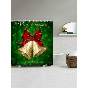 Merry Christmas Bell Print Waterproof Shower Curtain - GREEN W71 INCH * L79 INCH