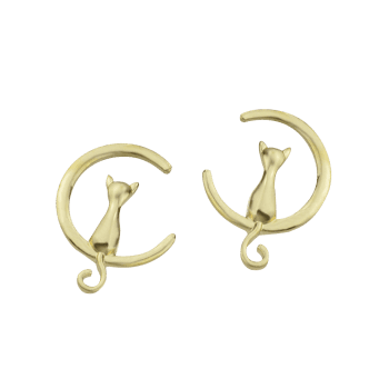 Moon Cat Design Alloy Earrings - GOLDEN