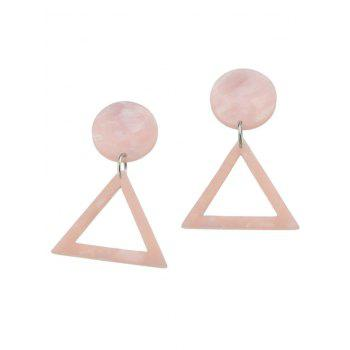 Geometic Triangle Hollow Out Print Earrings -  PINK