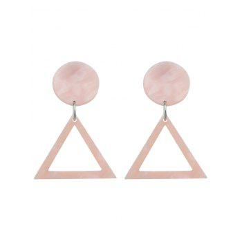 Geometic Triangle Hollow Out Print Earrings - PINK PINK