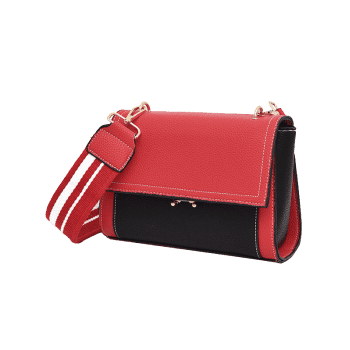 Faux Leather Flap Cross-body Bag - Rouge