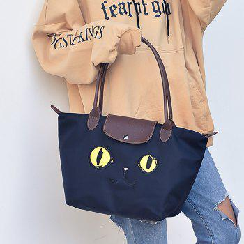 Cartoon Embroidery Waterproof Nylon Tote Bag -  BLUE