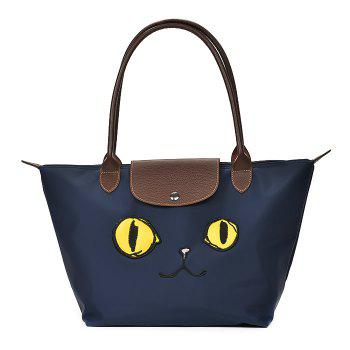 Cartoon Embroidery Waterproof Nylon Tote Bag - BLUE BLUE