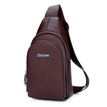 Sports Casual Faux Leather Chest Pack - BROWN