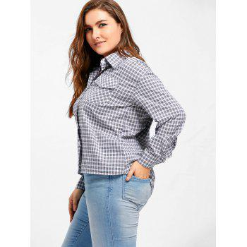 Plus Size High Low Plaid Ruffle Blouse - 4XL 4XL