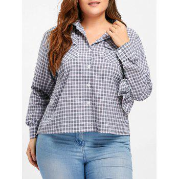 Plus Size High Low Plaid Ruffle Blouse - GREEN 4XL