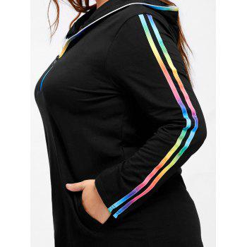 Plus Size Hooded Rainbow Striped Tee - BLACK 4XL