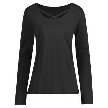 Plus Size Criss Cross Long Sleeve T-shirt - BLACK BLACK