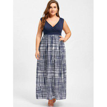 Plus Size Plaid Surplice Empire Waist Dress - PURPLISH BLUE 4XL