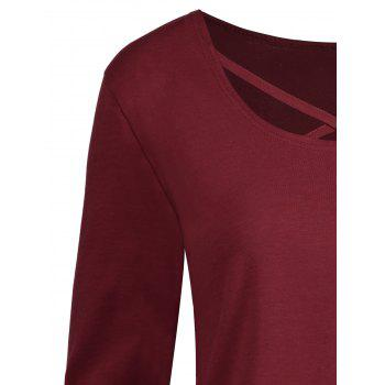 Plus Size Criss Cross Long Sleeve T-shirt - WINE RED 3XL