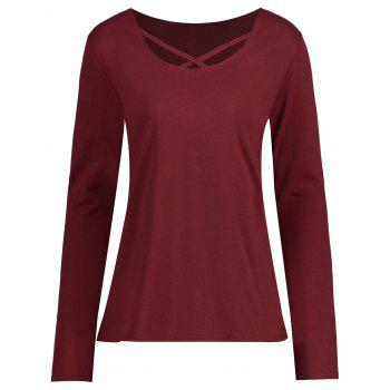 Plus Size Criss Cross Long Sleeve T-shirt - WINE RED WINE RED