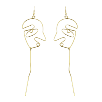 Hollow Face Bar Drop Earrings - GOLDEN