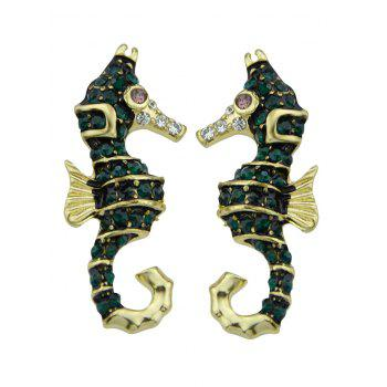 Alloy Sea Horse Stud Earrings - GOLDEN GOLDEN