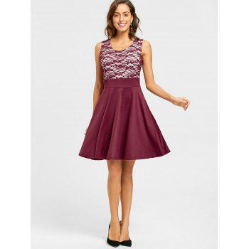 Sleeveless Floral Lace Panel Fit and Flare Dress - WINE RED L