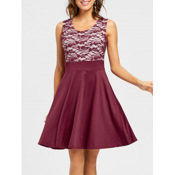 Sleeveless Floral Lace Panel Fit and Flare Dress - WINE RED XL