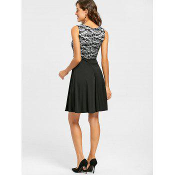 Sleeveless Floral Lace Panel Fit and Flare Dress - BLACK BLACK
