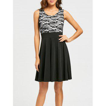 Sleeveless Floral Lace Panel Fit and Flare Dress - BLACK M