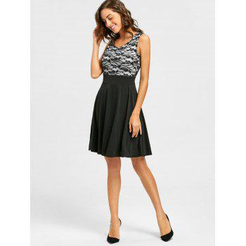 Sleeveless Floral Lace Panel Fit and Flare Dress - S S