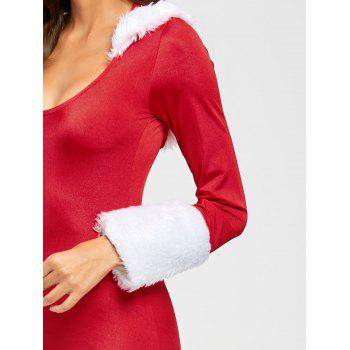 Hooded Bodycon Christmas Costume - RED RED