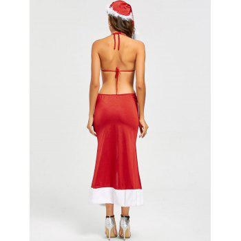 Slit Christmas Dress Costume - RED RED