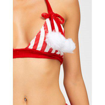 Striped Plush Christmas Costume - RED ONE SIZE