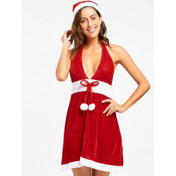 Velvet Halter Christmas Dress - RED RED