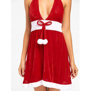 Velvet Halter Christmas Dress - RED XL