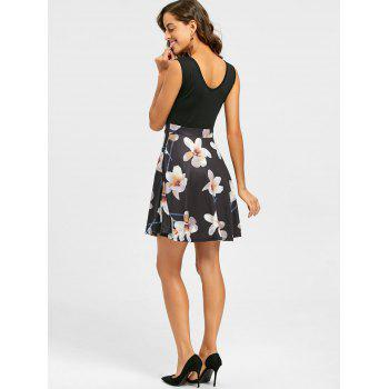 Floral Print V Neck Sleeveless Mini Dress - BLACK BLACK