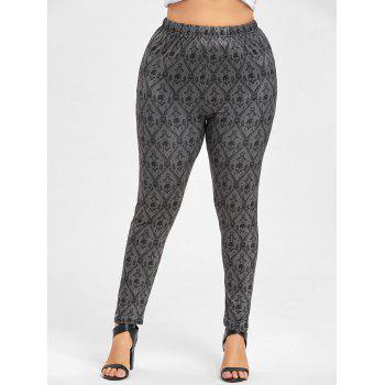 Leggings taille grand motif Halloween Skull - GRIS FONCE 2XL