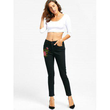 Floral Embroidered Zipper Fly Skinny Jeans - BLACK M