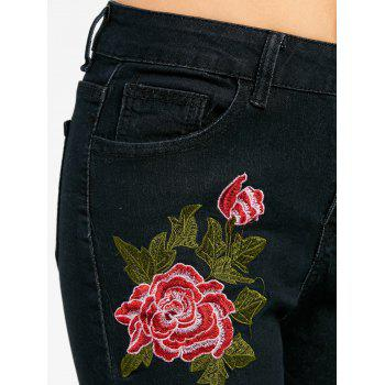 Floral Embroidered Zipper Fly Skinny Jeans - BLACK BLACK