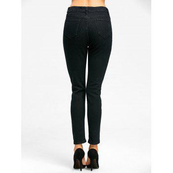 Floral Embroidered Zipper Fly Skinny Jeans - BLACK XL