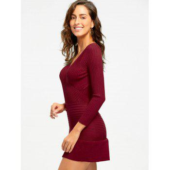 V Neck Knit Bodycon Surplice Dress - WINE RED WINE RED