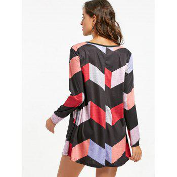 Long Sleeve Zigzag Mini Swing Dress - COLORMIX L