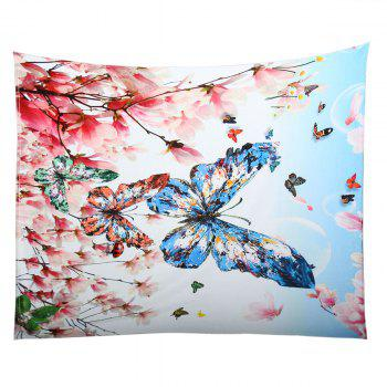 Coral Fleece Flowers Butterfly Pattern Blanket - COLORFUL COLORFUL