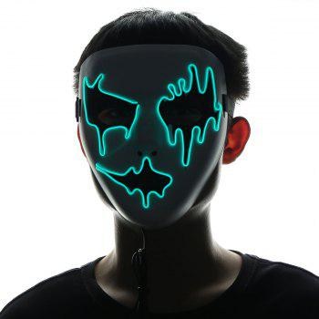 Halloween EL Wire LED Flashing Full Face Mask - GREEN