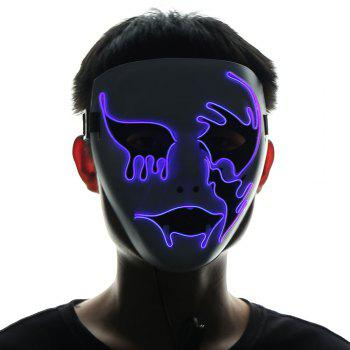 Halloween EL Wire Glowing Cosplay Creepy Mask - PURPLE