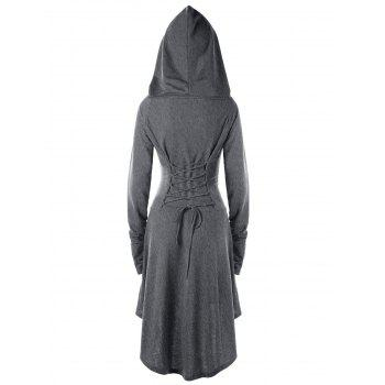 Lace Up Hooded High Low Dress - 2XL 2XL