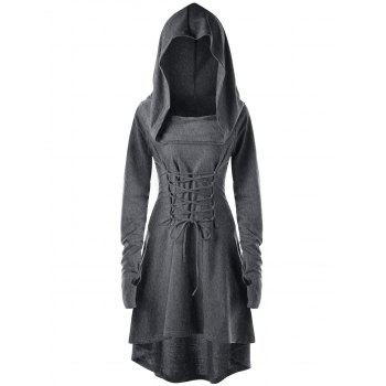 Lace Up Hooded High Low Dress - DARK HEATHER GRAY DARK HEATHER GRAY