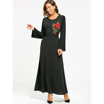Long Sleeve Floral Embroidered Maxi Dress - S S