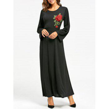 Long Sleeve Floral Embroidered Maxi Dress - BLACK S