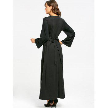 Long Sleeve Floral Embroidered Maxi Dress - BLACK M