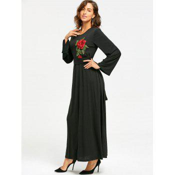 Long Sleeve Floral Embroidered Maxi Dress - BLACK BLACK